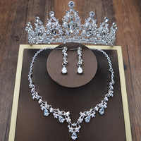 Diseño de moda de Cristal de novia de 3 uds Clipe Colar Brincos Tiaras Coroas Nupciais ¿Casamento Conjunto de Joias Acessorios
