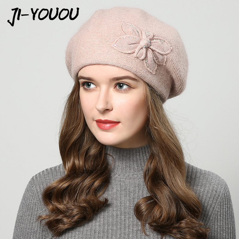 2017 winter hats for women hat Berets with rhinestones rabbit fur hats for womens knitted beanie Thicker Womens cap beanies