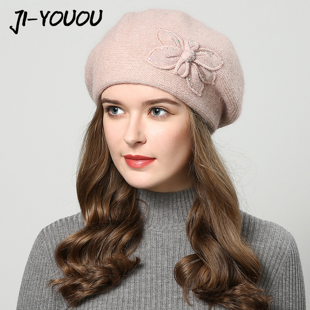 2018 winter hats for women hat Berets with rhinestones rabbit fur hats for  women s knitted beanie 4690e8d5abe2