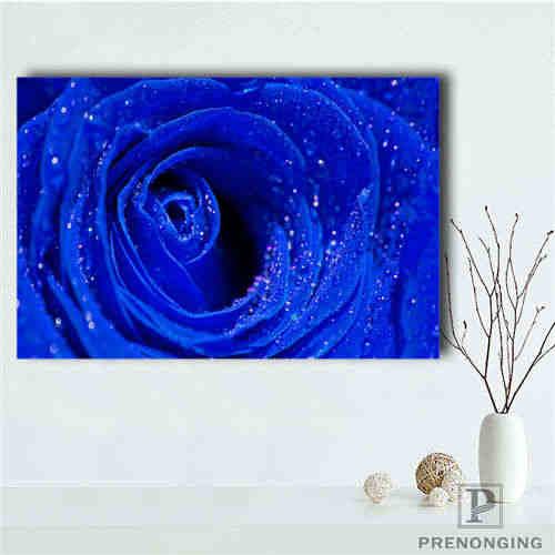 Kustom Kanvas Poster Biru-Mawar (2) mencetak Poster Kain Kain Dinding Seni Gambar untuk Living Room Dekorasi #18-12-16-H-02-60