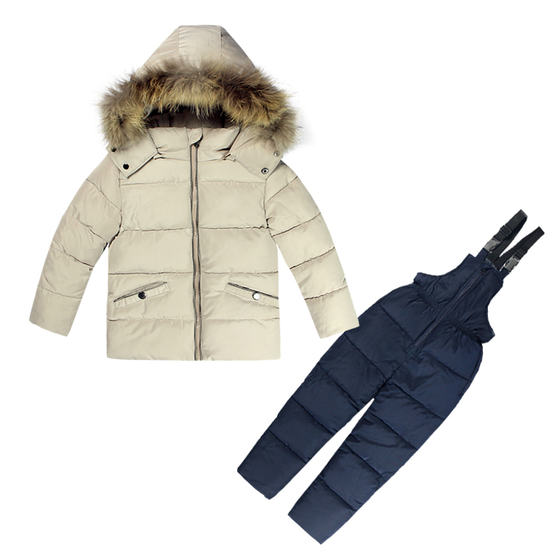 Russia Winter Boys Clothing Set 2PCs Down Coat+Overalls SKI SUITS Warm Windproof Outwear Snowsuits Jackets+scarf Pants 2-5T Kids 2016 winter boys ski suit set children s snowsuit for baby girl snow overalls ntural fur down jackets trousers clothing sets