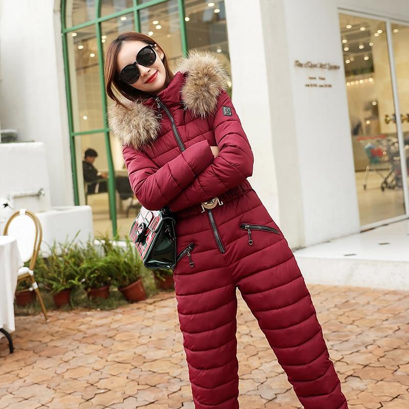 Women Winter Hoodie Coat One Piece Ski Jumpsuit Breathable Snowboard Jacket Skiing Pant Sets   parkas   outwear
