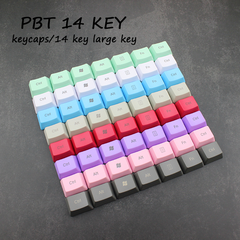 Mechanical Keyboard PBT <font><b>Keycaps</b></font> <font><b>14</b></font> Key Large Key Position OEM Height Color Laser Carving Purple Mint Green Powder Blue Yellow image