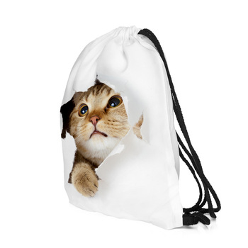 20PCS / LOT Women Creative Drawstring Bag Escolar Cat 3D Printing Man Bags Large Capacity Pouch Travel Backpack