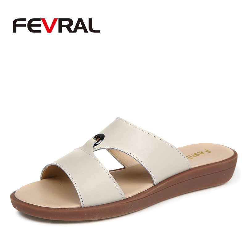 FEVRAL Woman Shoes Flats Beach-Sandale Comfortable Fashion Summer Brand Non-Slip Casual