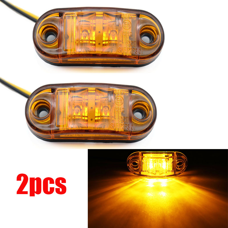 2Pcs 12V / 24V LED Side Marker Lights Car External Lights Warning Tail Light Auto Trailer Truck Lorry Lamps Amber Color
