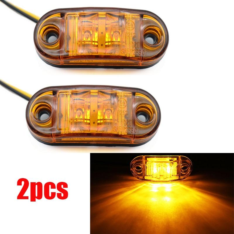 2Pcs 12V / 24V LED Side Marker Lights Car External Lights Warning Tail Light Auto Trailer Truck Lorry Lamps Amber color
