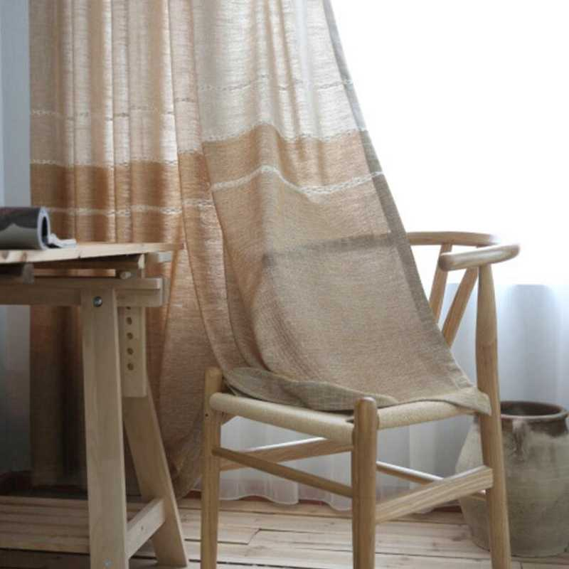 Thick Faux Linen Jacquard Curtains for new arrival modern curtain Window Modern Grey Curtains Custom Made White Tulle WP262-30
