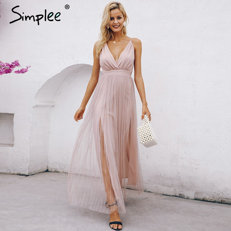 Simplee Mesh pink lace women dress Elegant v neck evening maxi christmas dress Autumn winter sexy long party dress vestido festa
