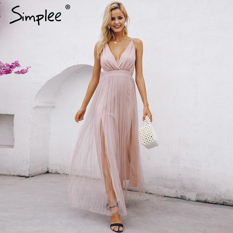 9aec9c9712 ... largo vestido de fiesta festa. Cheap Simplee de malla rosa de encaje de  las mujeres vestido elegante con cuello en v