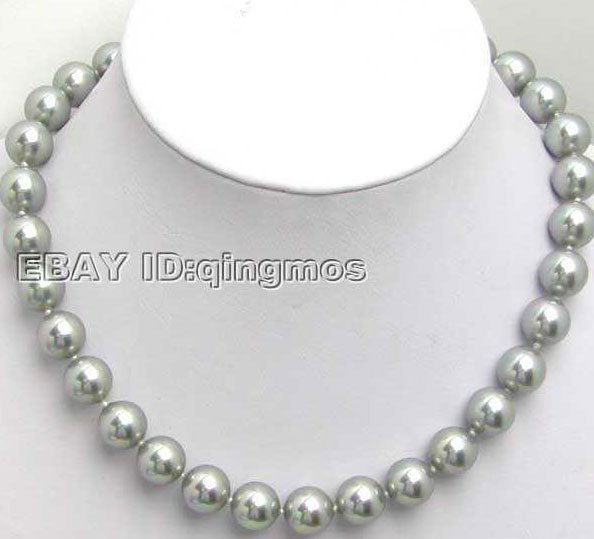 """SALE Big 12MM high luster Perfect Round silver gray Sea Shell Pearl 18"""" NECKLACE -5103 Wholesale/retail Free shipping"""