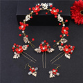 Wholesale Red Crystal Headband Hair Pins and Earrings Handmade Vintage Hair Accessories For Bride Hairband Cheap Headpiece SG474