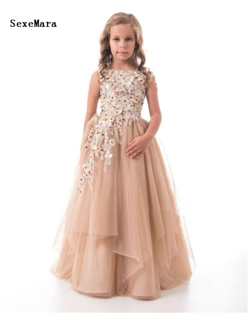 Champagne Tulle 3D Lace Applique   Girls   Pageant Gown Scoop Neck A Line Ankle Length   Girls   Birthday   Dress   Custom Made Size