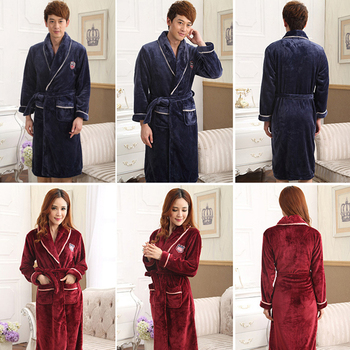 Lovers Dress for Men and Women Warm Super Soft Flannel Coral Fleece Long Bath Robe Mens Kimono Bathrobe Male Dressing Gown Robes soft extra long men women warm coral flannel bath robe mens kimono bathrobe male dressing gown lovers winter warm sleep robes