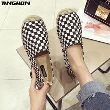 TINGHON Fashion Women Ladies Espadrille Shoes Canvas Black White plaid Hemps Fisherman Flats