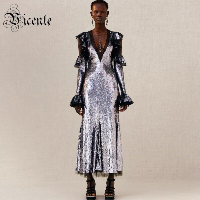 Vicente/популярное шикарное длинное платье с серебряными пайетками, сексуальное платье с открытыми плечами и длинными рукавами, дизайнерское