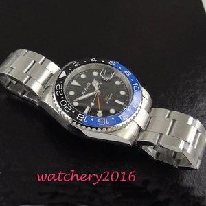 Image 4 - חדש 40mm Parnis שחור חיוג קרמיקה bezel ספיר זכוכית תאריך להתאים GMT אוטומטי תנועת גברים של עסקי שעון