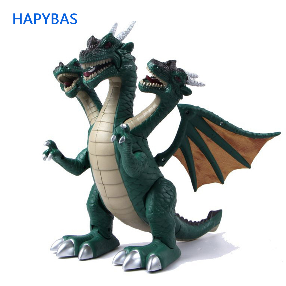 Electronic toy Three Headed Dinosaur toys acoustooptical electric large abs Dinosaur sound light model toy