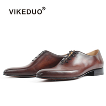 VIKEDUO Men's Dress Shoes Handmade Square Toe Real Genuine Leather Oxford Shoes Wedding Office Patina Bespoke Footwear Zapatos