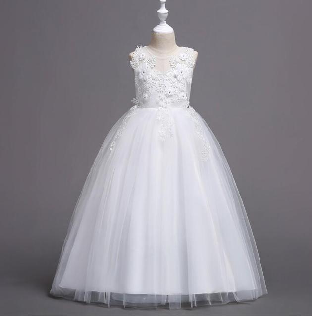 Children's flower embroidery lace performance princess dress girls sleeveless dancing dress Family Matching Outfits R498