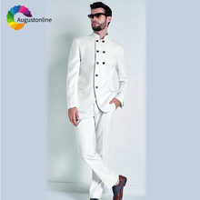 цена White Men Suit Wedding Suits Groom Stand Collar Blazer Custom Made Slim Fit Casual 2018 Tuxedos Best Man Stage Costumes 2 Pieces