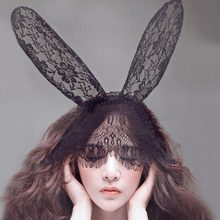 High Quality Lovely Lace Rabbit Bunny Ears Veil Black Eye Mask Party Headwear Hair Accessories(China)