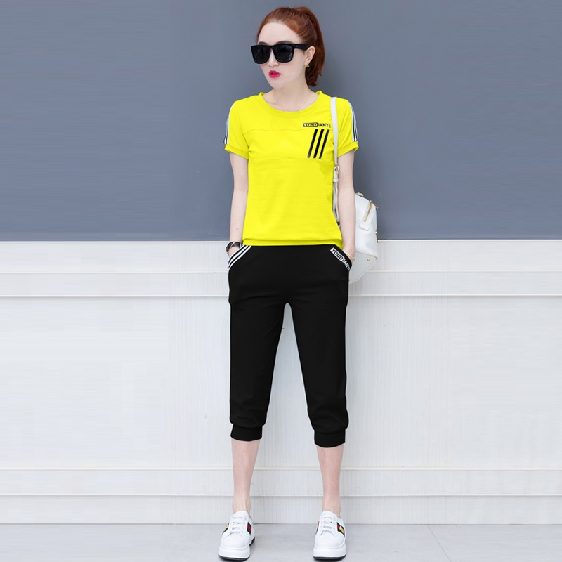 2018 Summer Fashion Elegant Tracksuit Casual Pant Suits 2 Piece Set Women Short Sleeve T-shirts And Calf-length Slim Pants Suit