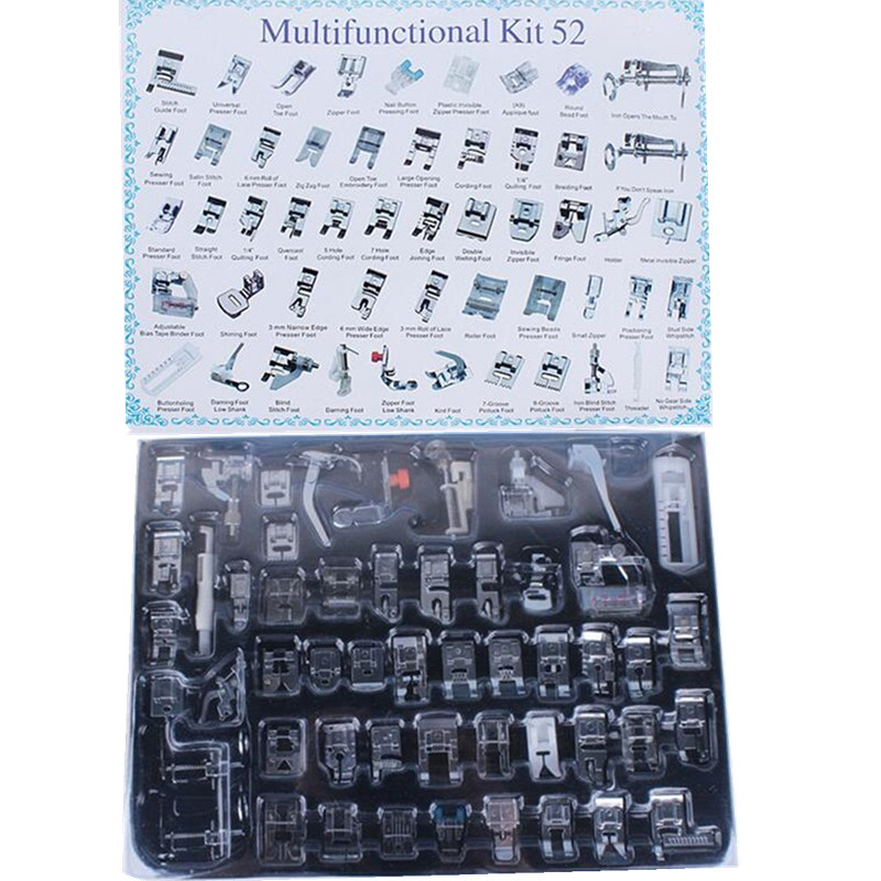 52 PCS Home/Domestic Sewing Machine Feet Presser Sewing Machine Foot Sewing Accessories&Prop Kits For Brother Janome 5BB5087