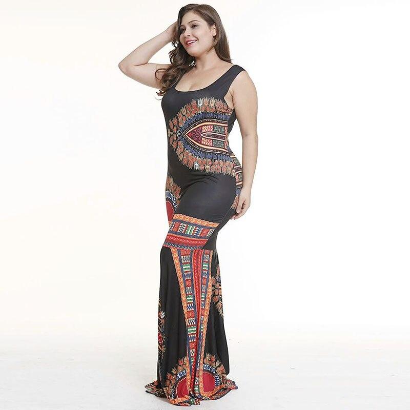 Big Size African Dashiki Wax Print Girl Folk Floor Length Ladies Sleeveless Trumpet Maxi Dress O Neck Mermaid Large Size Women