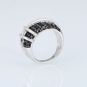 Image 2 - SANTUZZA Silver Ring For Women 925 Sterling Silver Top Quality AAA+ cubic zirconia Natural Black Stones Ring Fashion Jewelry