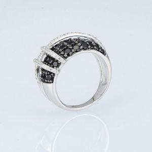 Image 2 - SANTUZZA gümüş yüzük kadınlar için 925 ayar gümüş en kaliteli AAA + kübik zirkonya doğal siyah taş yüzük moda takı