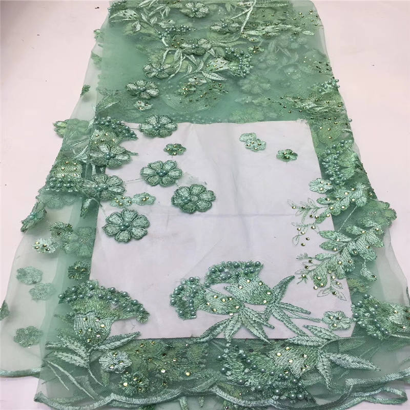 5yards/lot Green Beaded Pearls Lace Applique 2019 African French Lace Fabric Exquisite 3D Applique Lace For Wedding Dress
