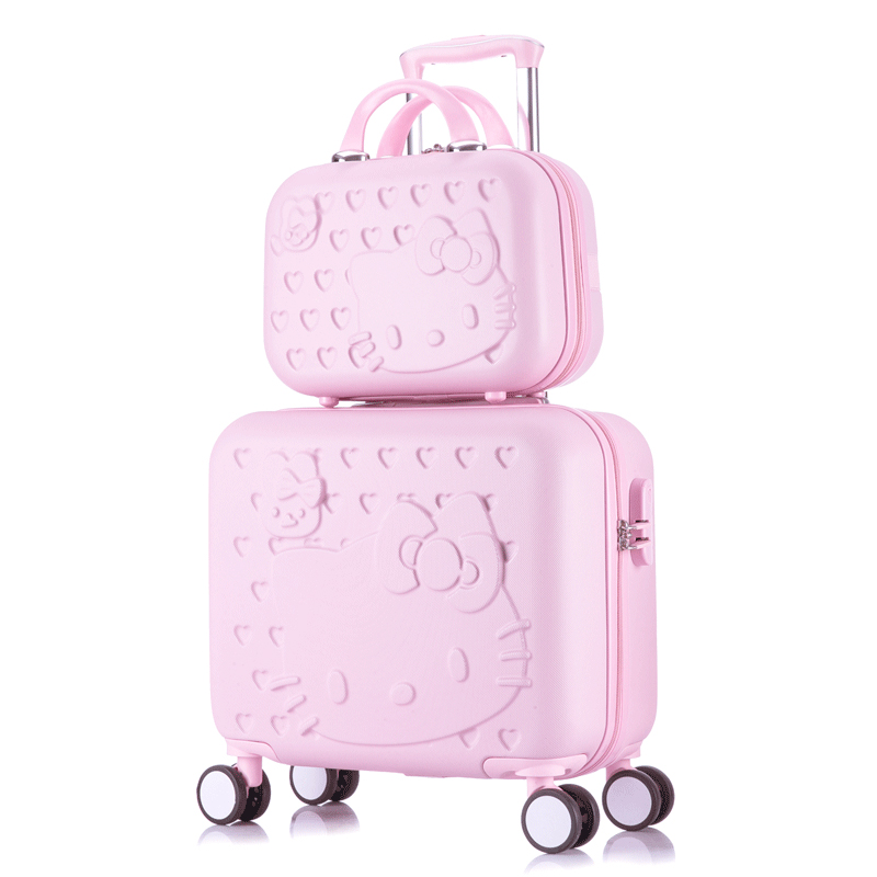 67c8325c7823 US $68.0 20% OFF Hello Kitty Cabin Luggage & Suitcase set,Women Child Bag  Gift ,Lovely cartoon Trip case,Universal Wheels Trolley Box-in Rolling ...