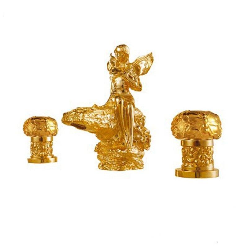 Бесплатная доставка золото 3 шт. широкое туалет раковина Роман милая девушка раковина кран Цветочная фея смесителя