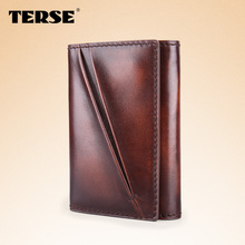 TERSE_Fashion handmade men leather card wallet genuine leather convenient credit card holder in blue/ coffee/ burgundy