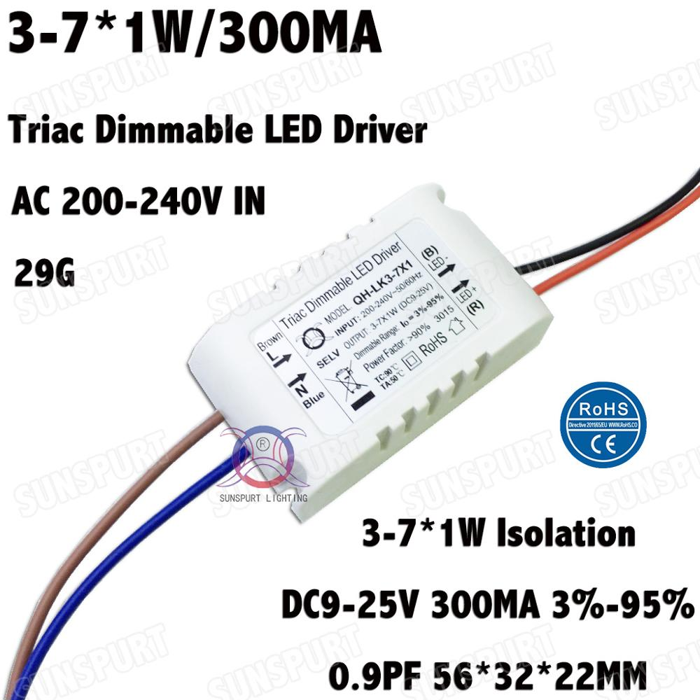 2 Pieces Isolation 3W-7W AC200-240V Triac Dimmable LED Driver 3-7x1W 300mA DC9-25V High PFC LED Power Supply CC Free Shipping nte electronics nte5652 triac 400v 3a to 5 50 pieces