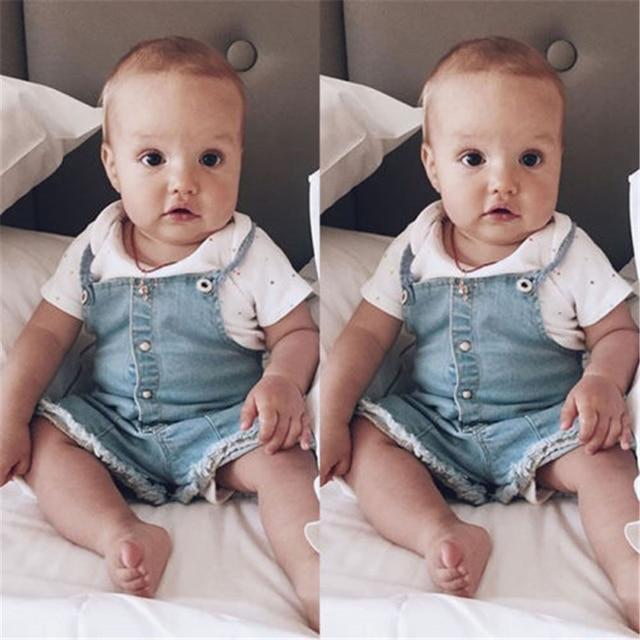 Infantil Bebê Menino Menina Romper Denim 2017 Nova Moda Sem Mangas Cinta Bolso Roupas Bebes Recém-nascidos Quentes Jean Macacão Outfits 0-24 M
