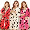 Autumn And Winter Women Pajamas Down Long Sleeve Thickening Camisole Nightgown Flannel two pieces robe + nightgown for women