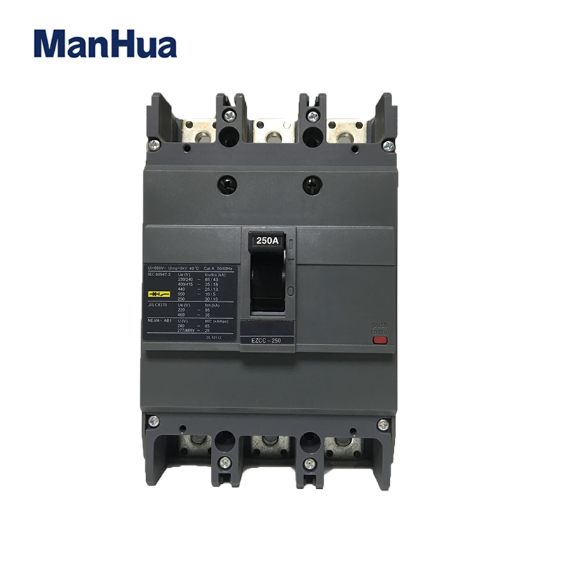 Manhua CB CE Certificated Breaking Capacity 35kA 250A Triples Poles EZC-250 Moulded Case Circuit Breaker