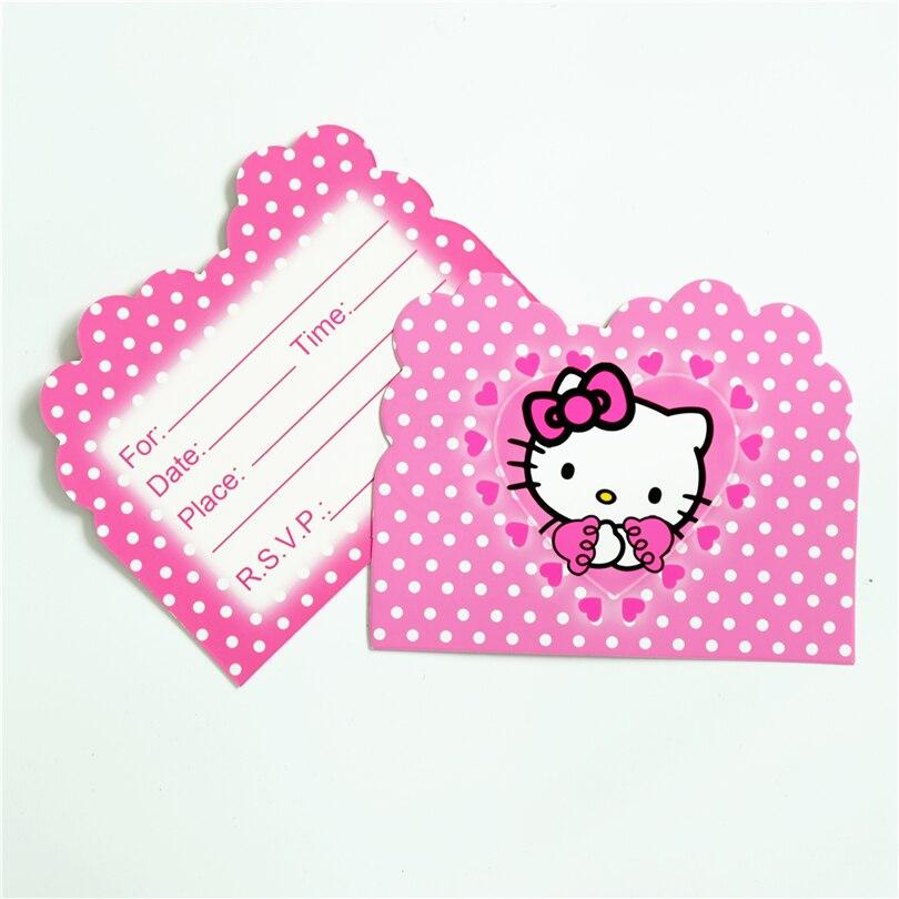 10 Teile/los Einladungskarte Hallo Kitty Katze Kinder Geburtstagsparty  Versorgung Ereignis Party Supplies Party Dekoration