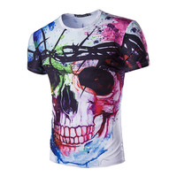 2017 Personlized Design Skull Pattern 3D Print Men T Shirt Casual Top Tees O Neck Male