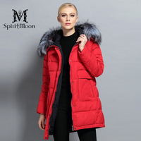 SpiritMoon 2017 New Winter Women Down Parka Hooded Warm Down Jacket Female Thickening Coat With Silver