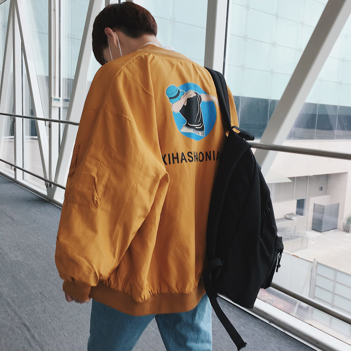Bombardier Veste Lâche purple Impression blue yellow Bande Coupe Hommes 2xl S Streetwear Dessinée Black Occasionnel Manteaux Mode Survêtement Baseball Marque Col 2018 vent De wxAvqagT