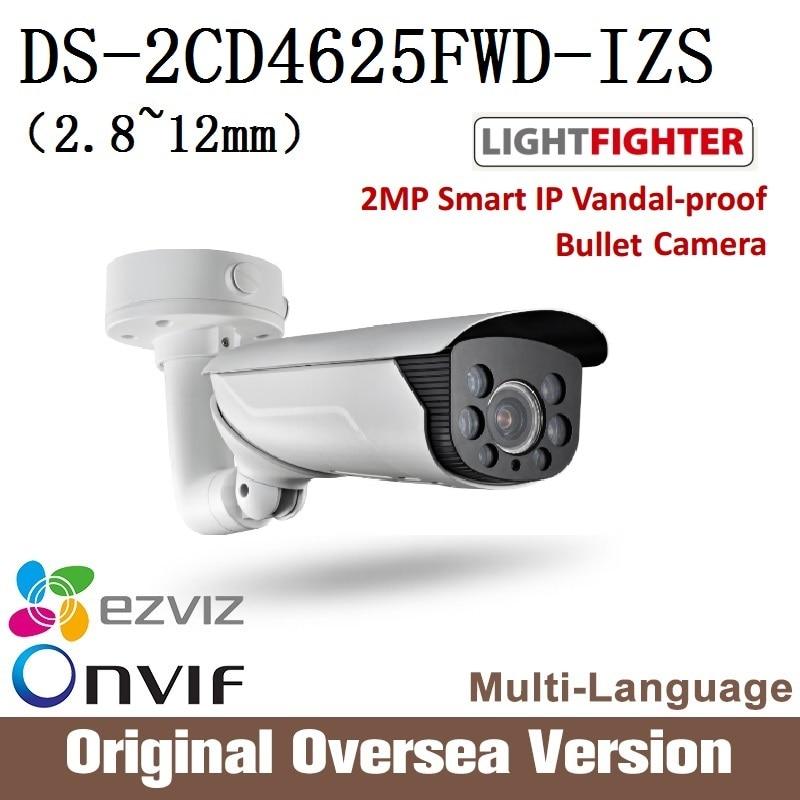 Hikvision  English Version Ip Bullet Camera DS-2CD4625FWD-IZS 2.8-12mm Poe Ip66 H265 WDR Onvif RJ45 lightfighter upgrade support hikvision ds 2cd4a25fwd iz 2mp smart ip camera cctv bullet 1080p poe ip67 ir english version h265 wdr onvif rj45 lightfighter
