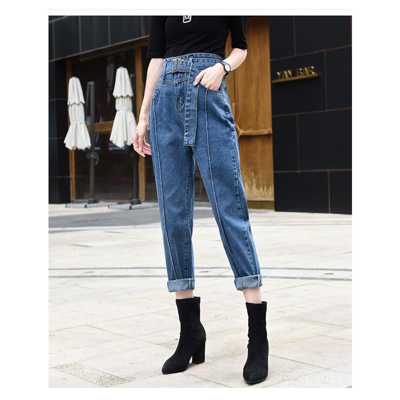 JUJULAND 2019 High Waist Jeans Women Streetwear Bandage Denim Plus Size Jeans Femme Pencil Pants Skinny Jeans Woman 2009