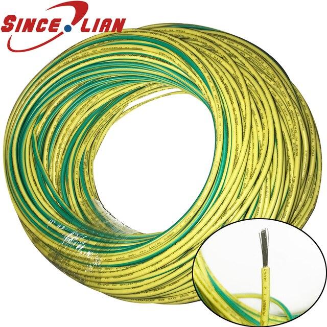 10 メートルシリコン線アース線ソフト高温 UL3135 16/18/20AWG 黄色緑の 2 色錫メッキ銅ケーブル