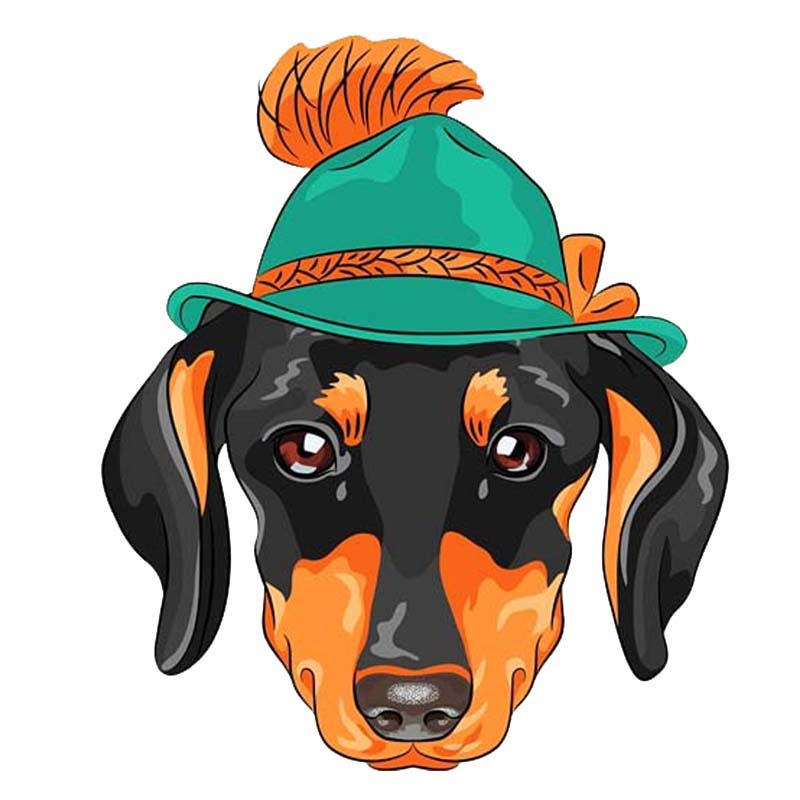 11.8cm*13.8cm A Dog With A Hat Pvc Modelling Car Sticker Decal 12-300185 Strong Resistance To Heat And Hard Wearing