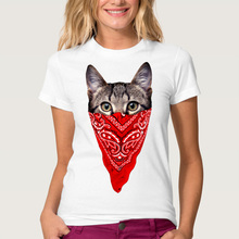 Funny Printed Masked Cat Tees For Women Harajuku Gangster Cat T shirt Tops Hipster White T-shirt WMT278