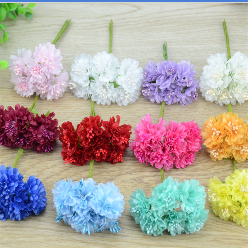 Wedding Flowers Cheap Online: 6pcs/lot Cheap Mini Silk Rose Artificial Silk Flowers