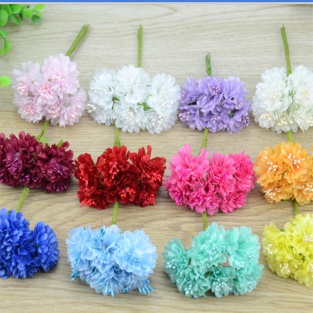 6pcs/lot Cheap Mini Silk Rose Artificial Silk Flowers Bouquet Wedding Decoration For DIY Scrapbooking Fake corsage Daisy Flower